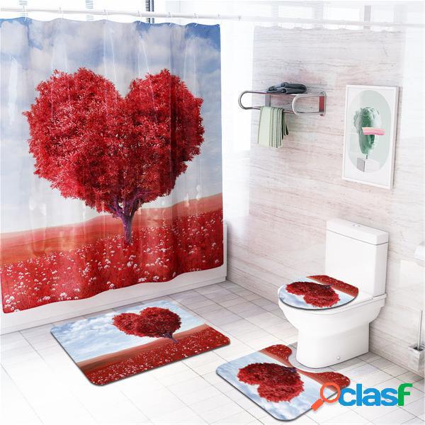 Coração árvore impermeável banheiro painel de cortina de chuveiro tapete de assoalho tampa de assento do vaso sanitário