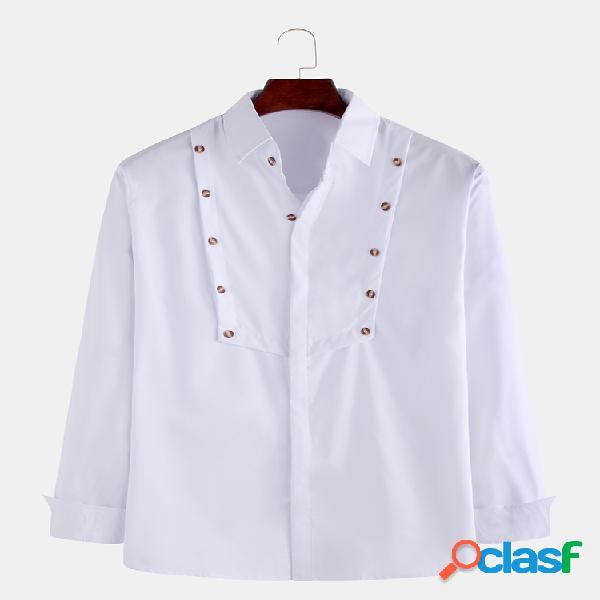 Mens botão de cor sólida turn down collar collar manga comprida camisas casuais