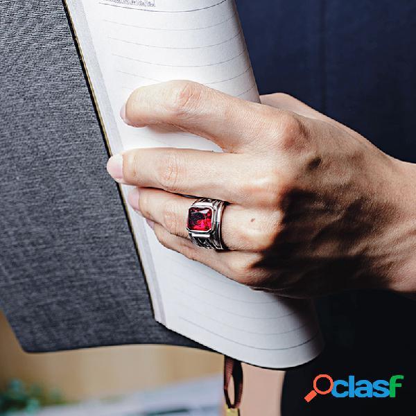 Anel de dedo de rubi quadrado geométrico de punk masculino para homens em aço de titânio vintage