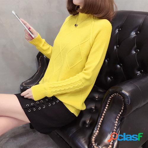Bottom de malha camisa camisola de mangas compridas de gola alta de cor sólida solta pulôver feminino