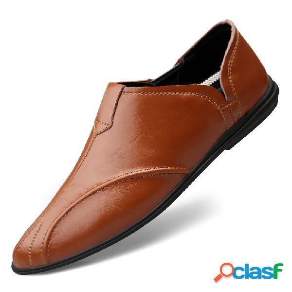 Homens couro de vaca antiderrapante soft sapatos únicos tamanho grande sapatos casuais