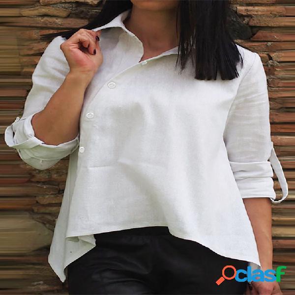 Lapela de botão assimétrico de cor sólida plus tamanho camisa