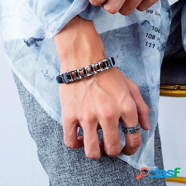 Pulseira de couro casual casal pulseira pulseira de corrente de aço inoxidável locomotiva jóias punk