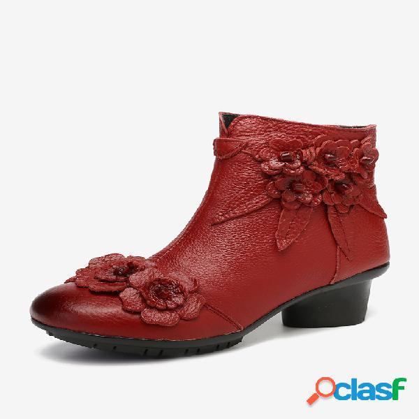 Socofy retro couro genuíno costura de flores feitas à mão em cor sólida soft botas curtas de salto baixo