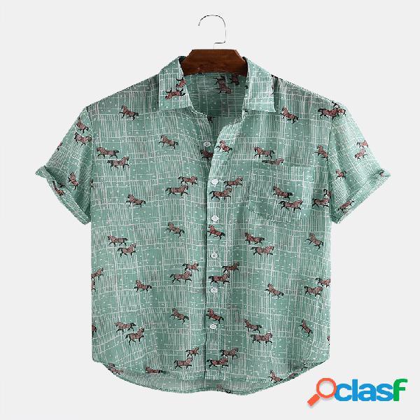 Camisas de manga curta com estampa de cavalo masculino animal cartoon