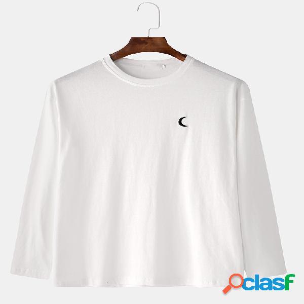 Homens 100% algodão crescente bordado solto casual em torno do pescoço esportes moletom com capuz