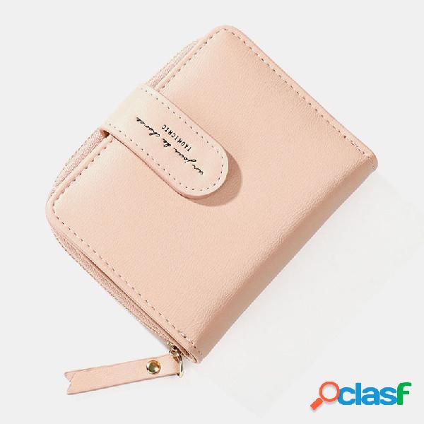 Mulheres sólidos 7 slots de cartão zipper carteira