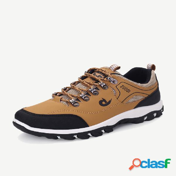 Tênis masculino de microfibra de couro antiderrapante resistente ao desgaste ao ar livre casual para caminhada