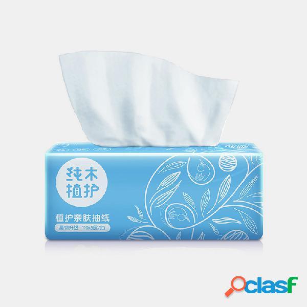 3 camadas de papel para guardanapo doméstico para a pele 110 bombas de bambu nativo papel para guardanapo doméstico
