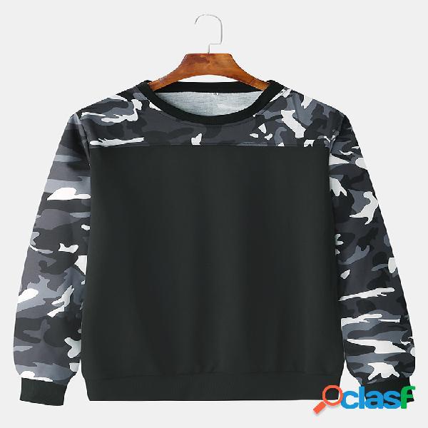 Mens algodão camuflagem retalhos camisola de manga comprida