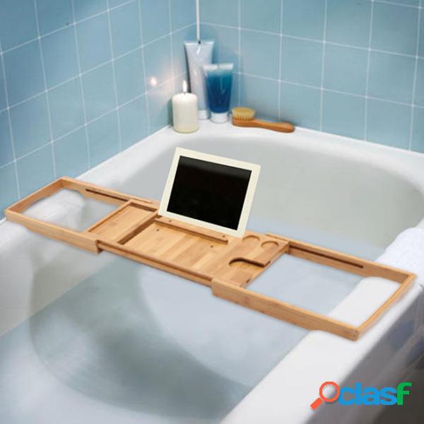 Suporte para banheira caddy de bambu para banheira banheiro suporte para prateleira de leitura de livros em bandeja de vidro