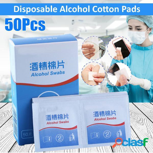 50 unidades de algodão com álcool absorventes higiênicos lenços umedecidos 75% de primeiros socorros para limpeza de pele doméstica esterilização