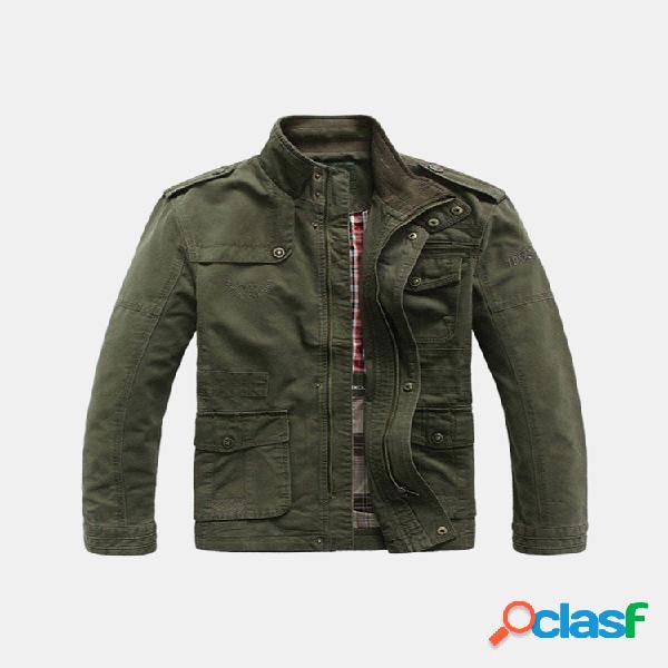 Tamanho grande casaco de algodão casuais ao ar livre militar gola de jeep rich para homens