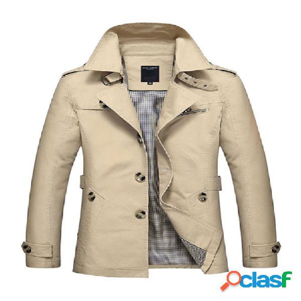 Casaco masculino jacket com gola de revestimento casual negócio de algodão lavada
