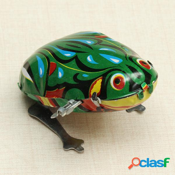Brinquedo engraçado wind up jumping frog brinquedo de lata com chave e mecanismo de corda