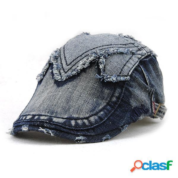 Homens mulheres casual cotton denim beret cap uv proteção sun visor flat peaked chapéu