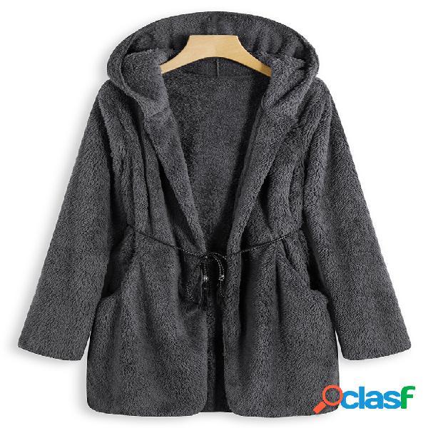 O-newe casaco feminino de pelúcia cor pura manga longa com capuz