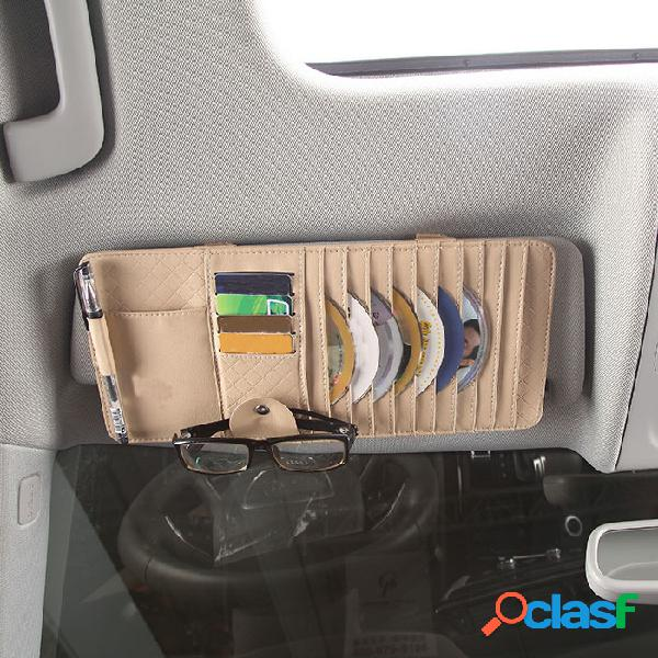 Cartão de clipe de cd para carro multifunções de couro pu bolsa porta-canetas para óculos de sol para telefone