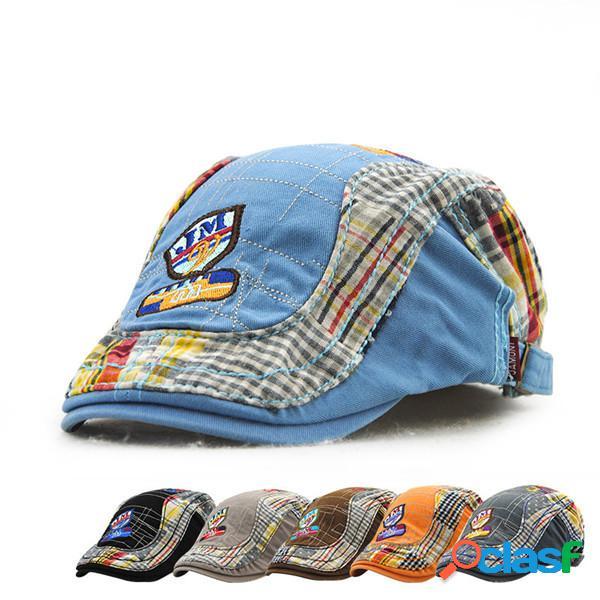 Crianças crianças bordado letra jornaleiro boina chapéu casual meninos meninas sombrinha cap plana