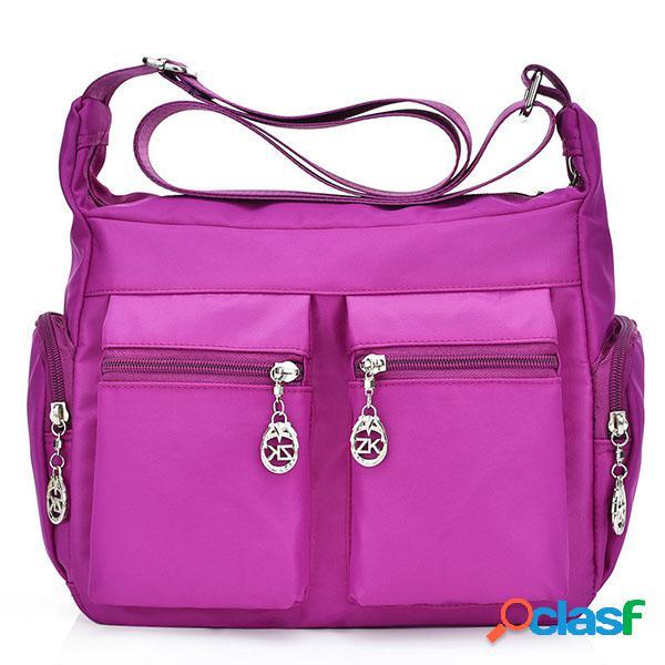 Multi-bolsos de nylon impermeável ao ar livre crossbody bolsa saco de ombro para as mulheres