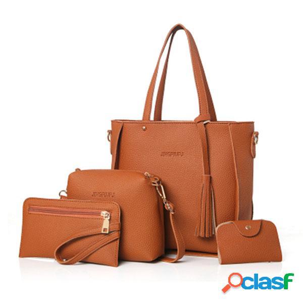 4 pcs pu couro bolsa conjunto hobo para mulheres