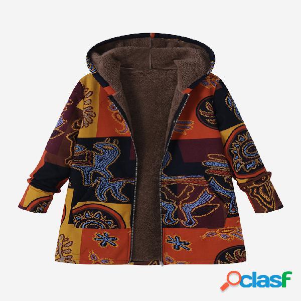 O-newe casaco estampado feminino de bolsos com capuz