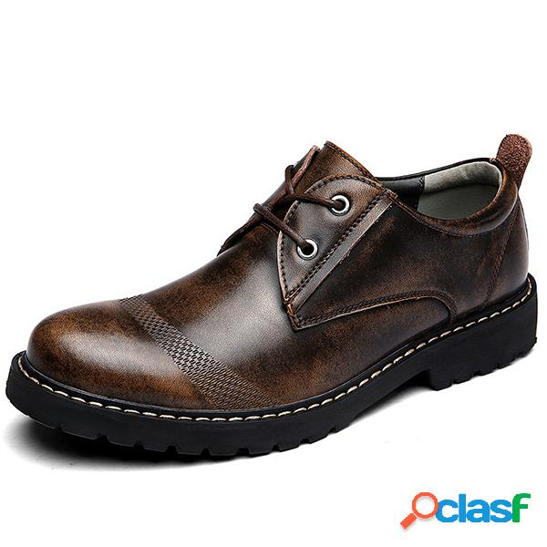 Homens retro cou cow leather low-top lace up casual shoes