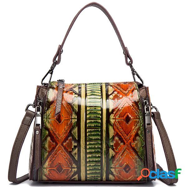 Brenice em relevo bolsas artesanais de couro do vintage esfregue ombro sacos crossbody