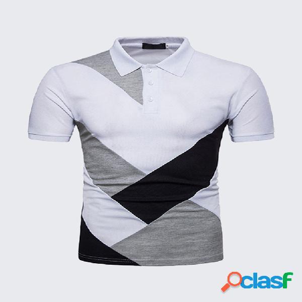 Polo de algodão de retalhos elegante respirável formal contraste de cor ajuste fino