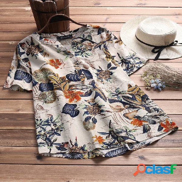 T-shirt vintage feminino estampa floral manga curta gola em v