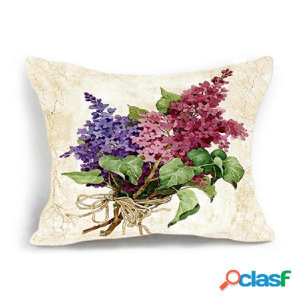 Capa de almofada de decoração para casa vaso de flores de luxo vintage padrão fronha de linho de algodão