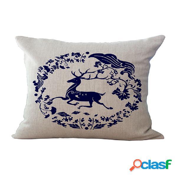 """Capa de almofada de linho de algodão 17 """"de luxo estilo europeu bohemian deer impressa fronha de decoração de casa"""