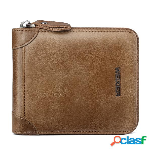 Carteira dobrável em três partes da carteira de motorista do bolso da moeda do zíper do vintage couro genuíno para homens