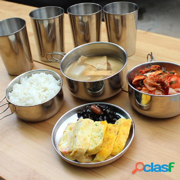 Cookware ao ar livre de 6 partes que acampa o jogo de aço inoxidável do piquenique do alpinismo do cookware