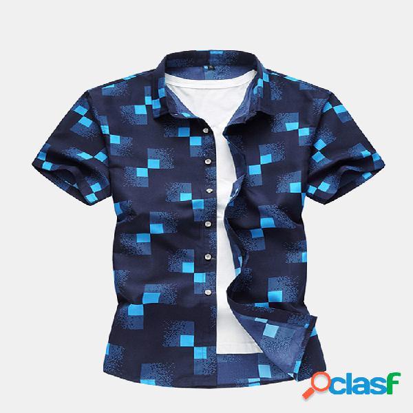 Plus camisas ocasionais finas e magras ocasionais da impressão do tamanho para homens