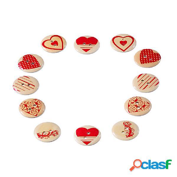 100 pcs multicolor coração formado 2 furos costura madeira botões