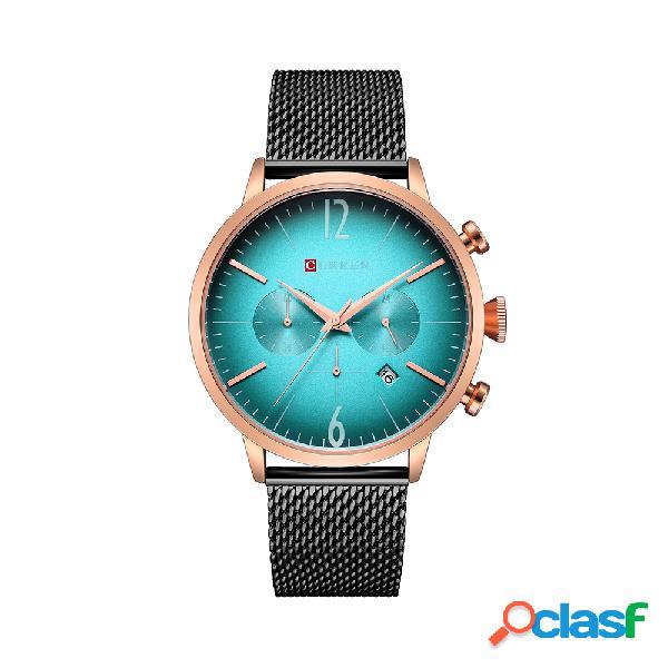Curren luxo mens relógios data cronógrafo analógico malha strap laser dial relógios de aço inoxidável