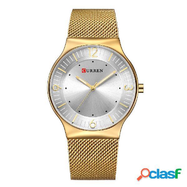 Curren mens relógios de prata de aço inoxidável banda ultra fino dial de laser de quartzo relógios à prova d 'água