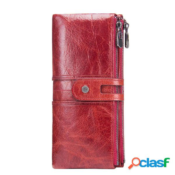 Mulheres couro genuíno high-end longo carteira dupla zíper 12 slot para cartão saco do telefone bolsa da moeda sólida