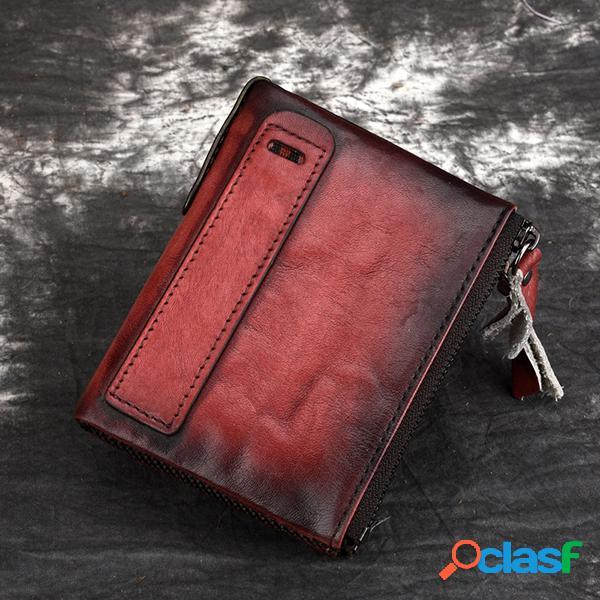 Rfid homens e mulheres carteira curta de couro genuíno 6 slot para cartão multi-função bolsa da moeda do vintage