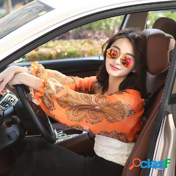 Womens uv proteção alongar mangas braço ao ar livre de condução protetor solar luvas longas manguito
