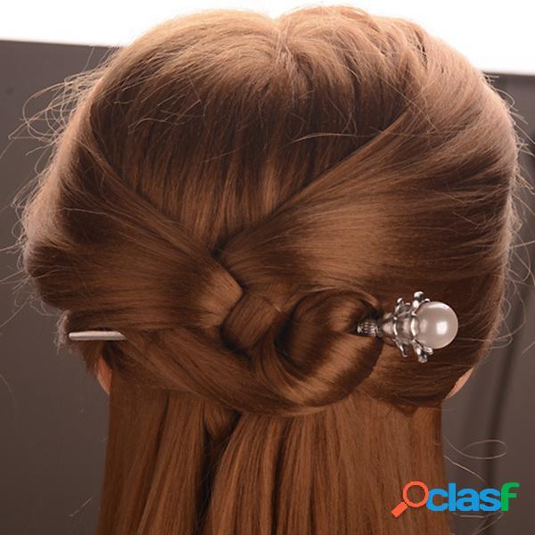 Étnica flor grampos de cabelo vintage prata cor de ouro pérola charme cabelo acessórios headwear para mulheres