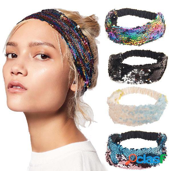 Faixa de cabelo da moda colorida de lantejoulas