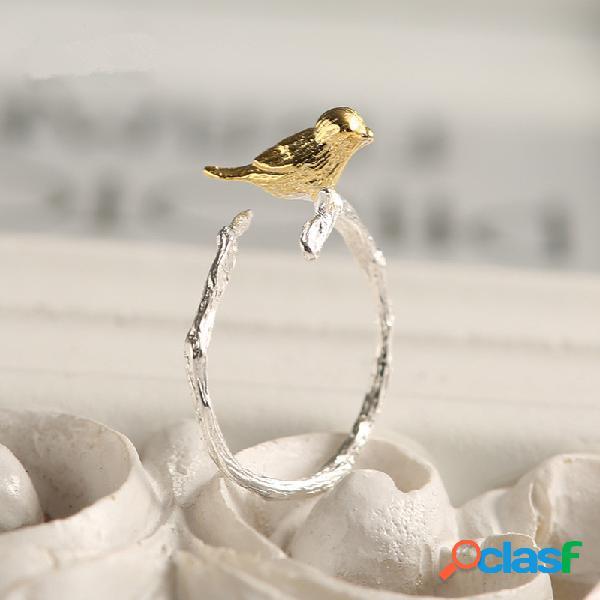 Moda 925 anéis de prata esterlina bonito filial do pássaro de ouro abertura anéis de dedo ajustáveis para as mulheres