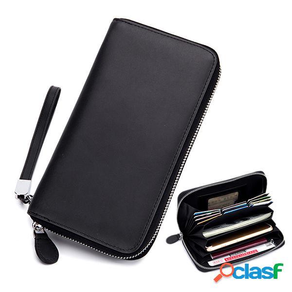 Couro genuíno multi-funcional multi-slots de 6 polegadas telefone bolsa embreagem bolsa carteira longa para mulheres homens