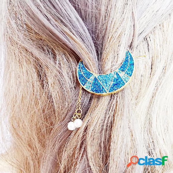 Doce brilhante lua beads borlas pingente charme grampo de cabelo acessórios de cabelo para meninas mulheres