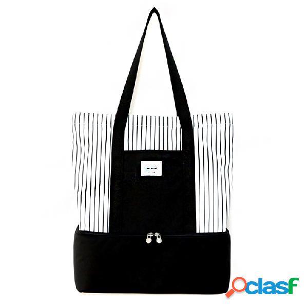Dupla compartimento isolada lunch bag cooler caixa de piquenique tote moda bolsa de mão