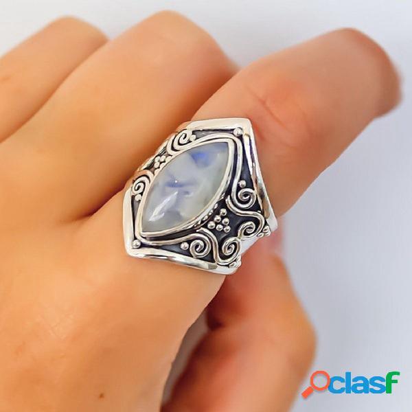 Jóias de presente na moda do dedo do anel de dedo do moonstone do vintage para mulheres