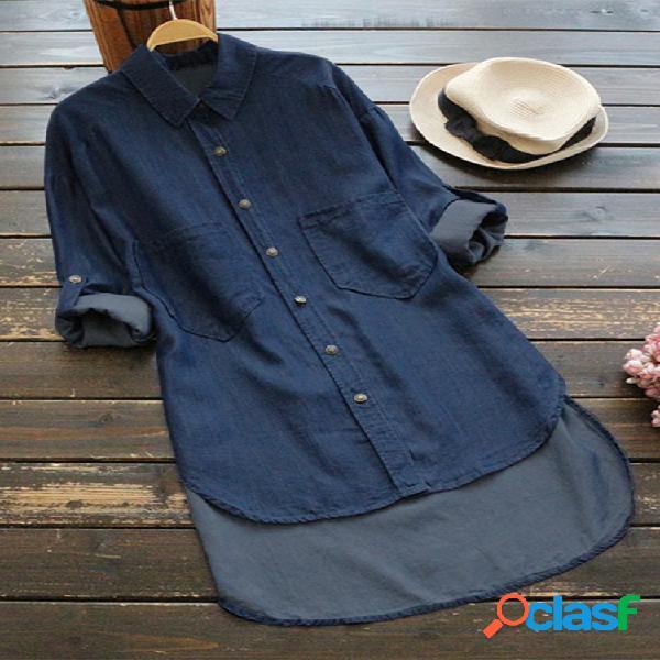 Denim irregular cor sólida manga longa botão camisas casuais