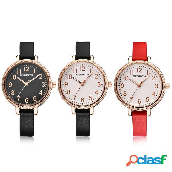 Quartzo na moda relógios de couro banda rodada dial big digital simples wirstwatches para mulheres